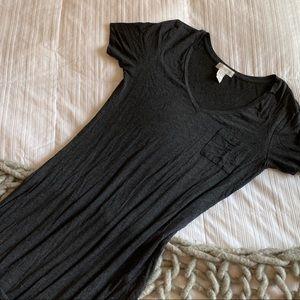 Thin Grey V Neck Short Sleeve Maxi Dress